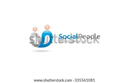 Social People Logo - stock vector
