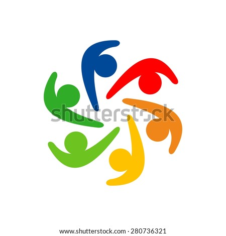 Social relationship and community logo and icon - stock vector