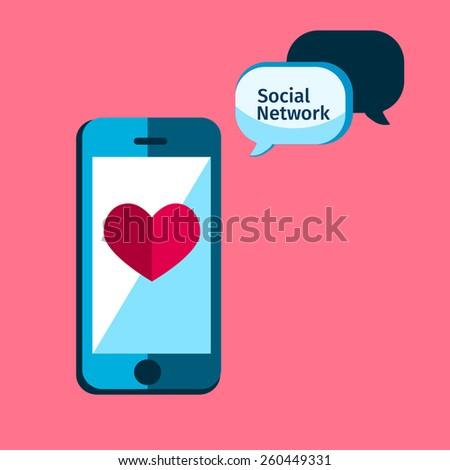 social service, mobile media in flat, apps icon  - stock vector