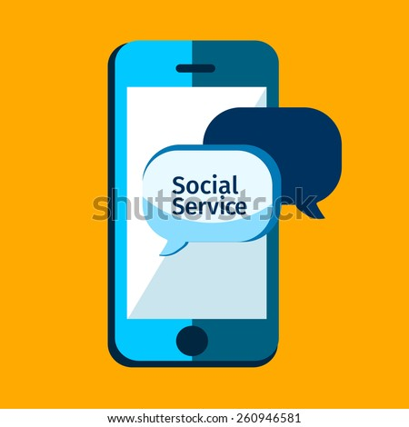 Social service, mobile media in flat style,, apps icon. Bubble speech. iPhone illustration - stock vector
