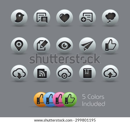Social Sharing and Communications // Pearly Series ----- The Vector file includes 5 color versions for each icon in different layers ----- - stock vector