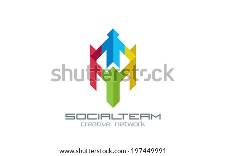 Social Team vector logo design template. Internet Community group Creative concept. People Holding hands Media Network icon. - stock vector