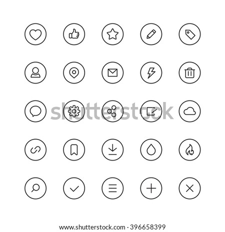 Social User Interface Icons - stock vector
