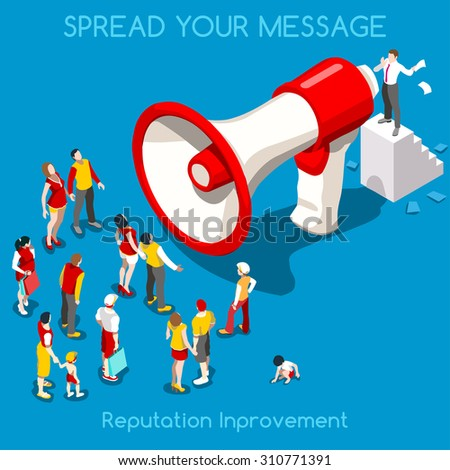 Social Web Promotion Interacting People Unique Isometric Realistic Poses 3D Flat Icon Set Online Communication Marketing Businessman Megaphone and Crowd Vector JPEG JPG EPS 10 Image AI Picture Graphic - stock vector