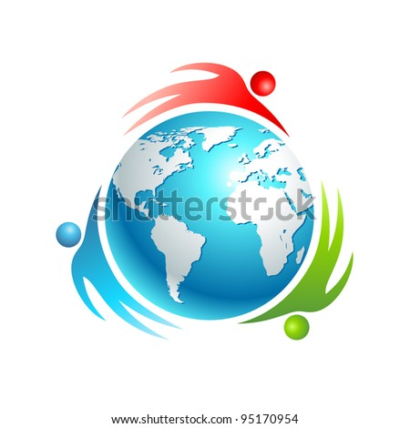 Social world icon. Concept vector. People rotating around Earth. - stock vector