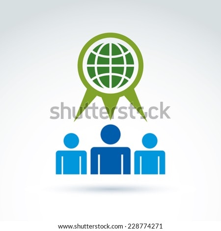 Society talking about ecology and green earth, vector conceptual unusual symbol for your design. - stock vector