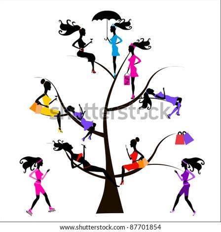 Sociology Tree different girls - stock vector