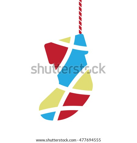 sock symbol, christmas festival gift vector illustration