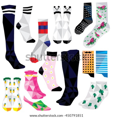 Socks set colorful low poly fashion designs isolated on white background. Vector illustration. Collection in a modern style.