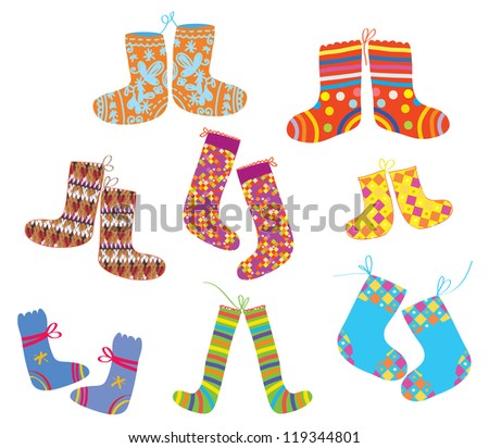 Socks set for christmas children style - stock vector