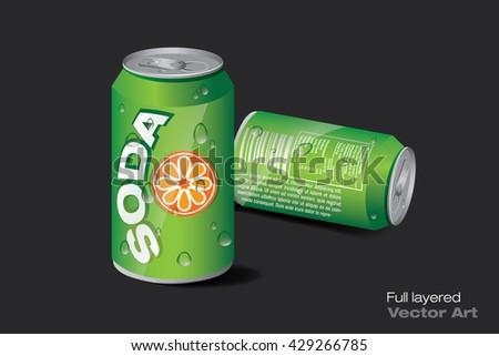 soda can green - stock vector