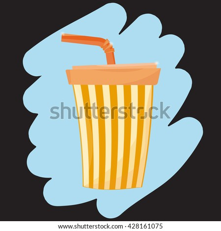 Soda cup illustration. Vector. Fast food paper cup. - stock vector