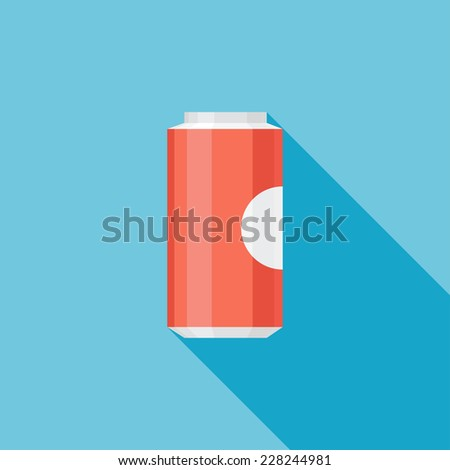 Soda flat icon. Modern flat icons with long shadow effect in stylish colors. Icons for Web and Mobile Application. EPS 10. - stock vector
