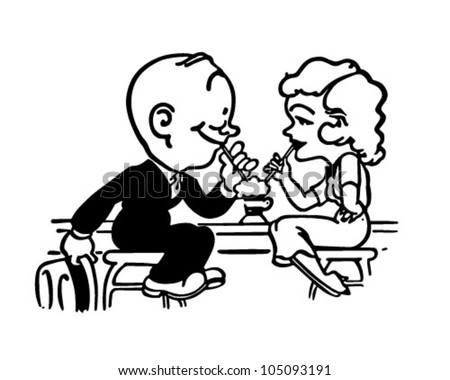 Soda Shop Romance - Retro Clipart Illustration