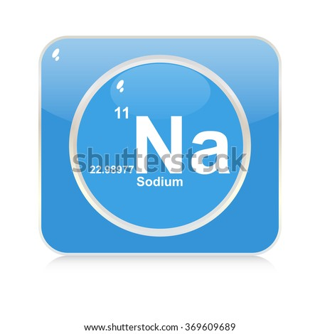 sodium chemical element button - stock vector