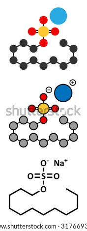 Sodium dodecyl sulfate (SDS, sodium lauryl sulfate) surfactant molecule. Commonly used in cleaning products. Stylized 2D renderings and conventional skeletal formula.  - stock vector