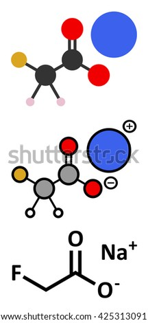 Sodium fluoroacetate pesticide (1080), chemical structure. Stylized 2D renderings and conventional skeletal formula. - stock vector
