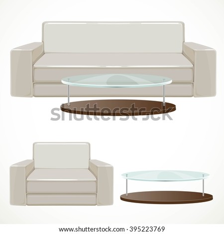 Sofa and armchair upholstered with light beige and coffee table with glass top vector illustration isolated on white background - stock vector