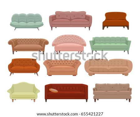 sofa couches colorful cartoon illustration vector stock vector