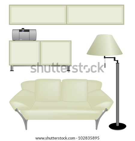 Sofa and other furniture isolated on white background - stock vector