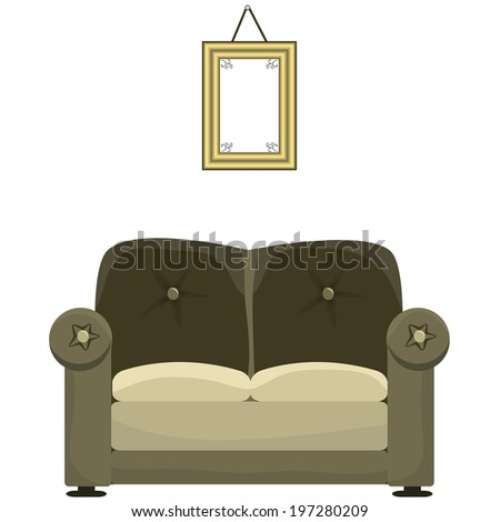 Sofa and painting on a white background - stock vector