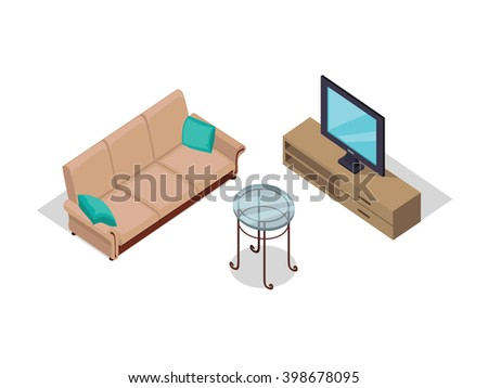 Sofa and TV on table isometric design. Furniture isometric interior sofa and tv, room living furniture, house furniture, 3d domestic furniture and detail model vector illustration - stock vector