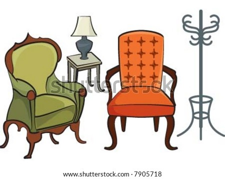 sofa chairs and little table with night light - stock vector