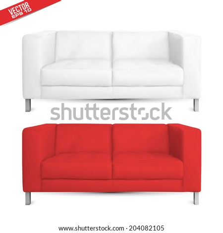 sofa couch realistic design in vector format - stock vector