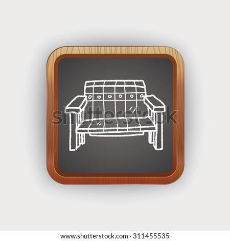 sofa doodle - stock vector