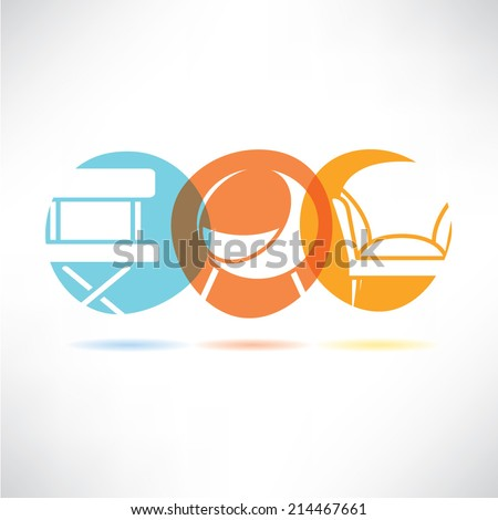 sofa furniture button, interior design concept - stock vector