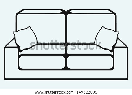 Sofa furniture isolated on blue background - stock vector