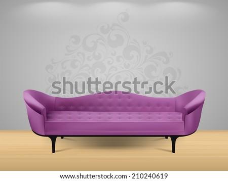 Sofa - home interior - stock vector