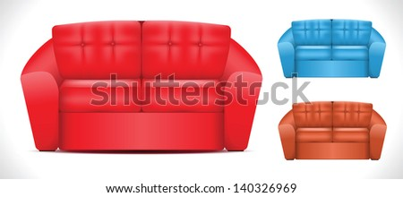 Sofa icon set in three colors. Vector illustration - stock vector