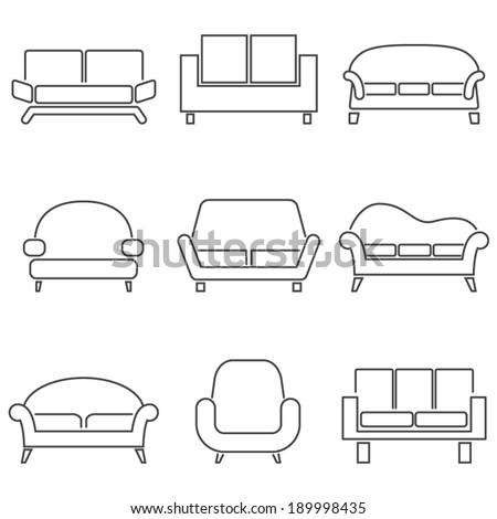 Sofa Icons  - stock vector