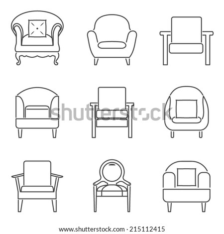 Sofa Icons Set Black Line Vector Illustration - stock vector