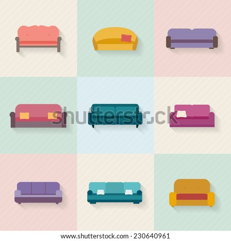 Sofa icons set. Furniture for living room. Flat style vector illustration. - stock vector