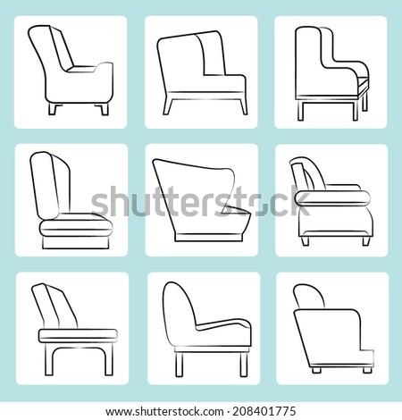sofa icons, sketch sofa, chair icons set, interior design concept - stock vector