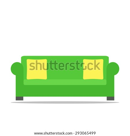Sofa. Isolated icon on white background. Contemporary furniture for living room or home office. Flat style vector illustration.  - stock vector