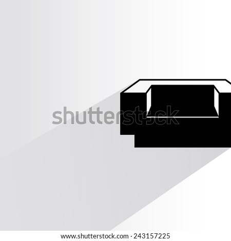 sofa on white background, flat and shadow theme - stock vector