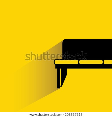 sofa on yellow background, flat and shadow design - stock vector