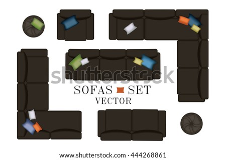 Sofa Top View. Sofas and Armchair Set. Realistic Illustration. Modern Luxury Living Room. Furniture for Your Interior Design. Scene Creator. Bench and Poufs. Isolated Black Sofas on White Background. - stock vector