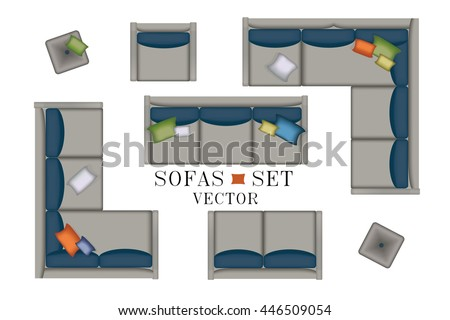 Sofa Top View Sofas And Armchair Set Realistic Illustration Modern Luxury Living Room