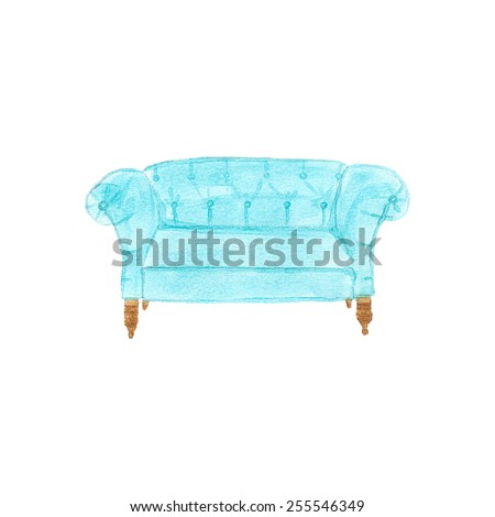 Sofa. Watercolor settee on the white background, aquarelle. Vector illustration. Hand-drawn decorative element useful for invitations, scrapbooking, design. Home and furniture  - stock vector
