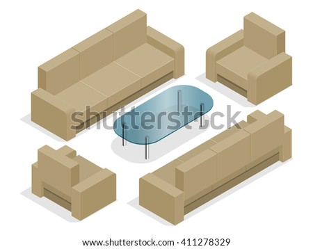 Sofa with armchairs isolated on white. Flat 3d isometric illustration.  - stock vector