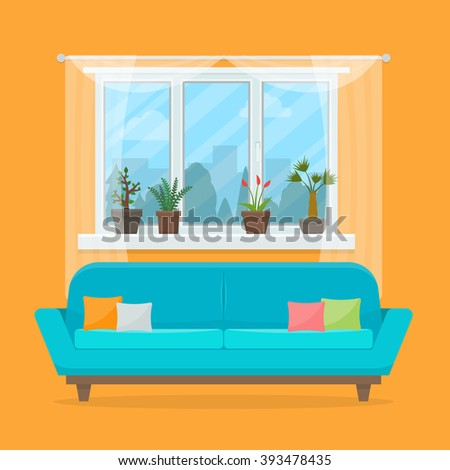 Sofa with pillows and window with plants. Living room interior. Flat style vector illustration. - stock vector