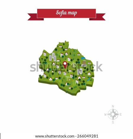 Sofia, Bulgaria map. Flat style design - vector - stock vector