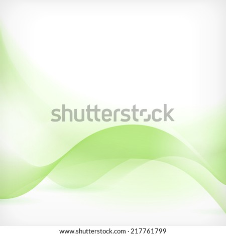 Soft and dreamy abstract background with wave pattern in shades of green. - stock vector