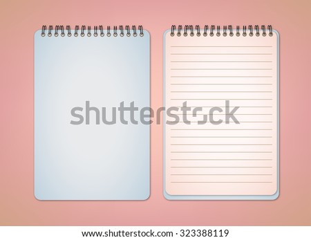 Soft Blue Notebook Vector - stock vector