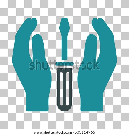 Soft Blue Tuning Screwdriver Care Hands interface toolbar icon. Vector pictogram style is a flat bicolor symbol on chess transparent background.