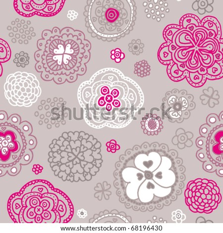 Soft coloured snowflake flower background pattern in vector - stock vector